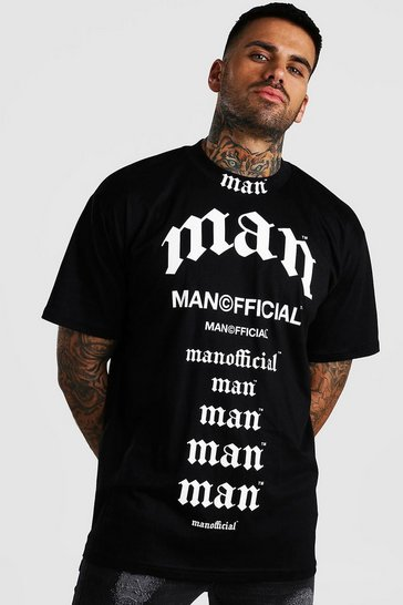 Black Multi MAN Print Loose Fit T-Shirt