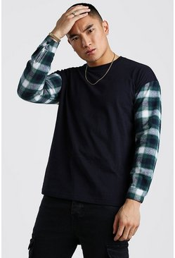 Navy Oversized Long Sleeve T-Shirt With Check Sleeves