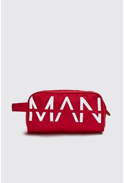 Herr Red MAN Printed Large Washbag