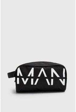 Mens Black MAN Printed Large Washbag