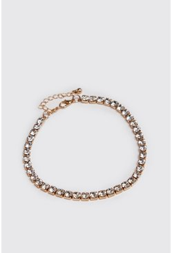 Mens Gold Diamante Tennis Chain Bracelet