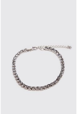 Mens Silver Diamante Tennis Chain Bracelet