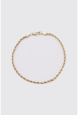 Mens Gold Rope Chain Bracelet