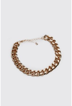 Mens Gold Large Cuban Chain Link Bracelet