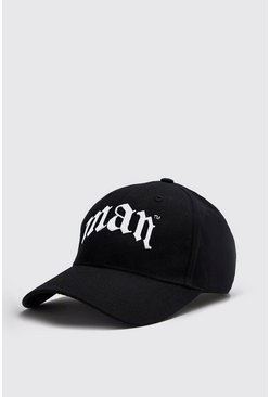 Gothic Embroidery MAN Cap, Black, Uomo