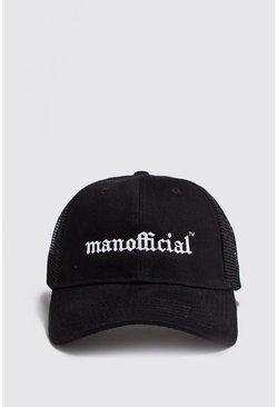 Mens Black MAN Official Gothic Embroidery Trucker