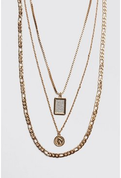 Mens Gold 3 Layer Chain Necklace
