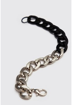 Mens Silver Two Colour Chain Bracelet