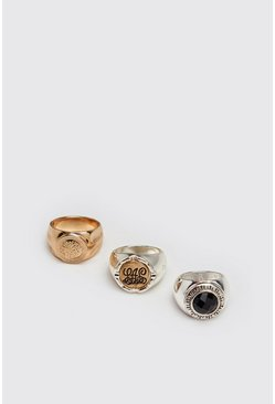 Mens Multi 3 Pack Mix Metal Rings