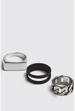 Silver Chain Band 3 Pack Rings