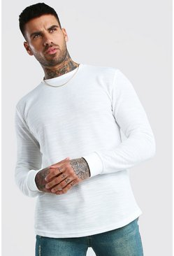 White Long Sleeve Curved Hem T-Shirt In Slub