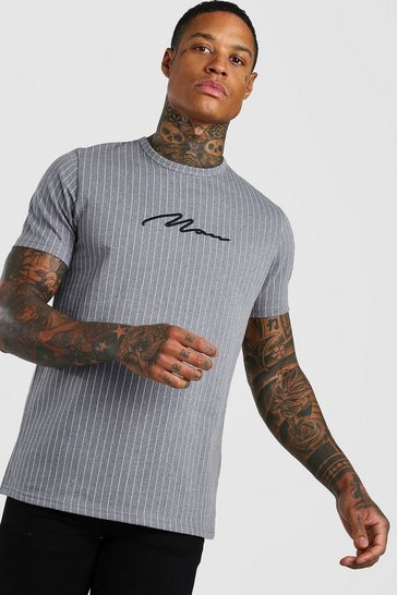 Grey MAN Signature Pinstripe Jacquard T-Shirt