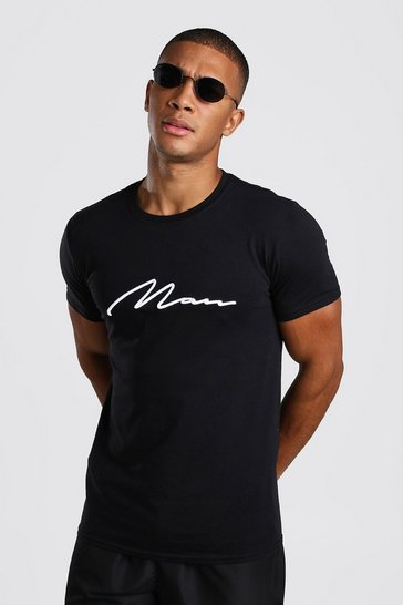 Black White 3D MAN Signature Embroidered T-Shirt