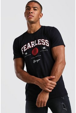 Black Fearless Chicago Print T-Shirt