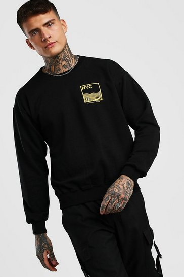 Black NYC Waves Print Sweatshirt