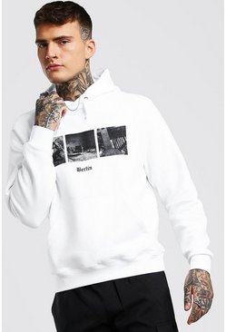 White Berlin Photo Print Hoodie