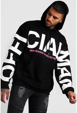 Sweat oversize manche imprimé MAN Officiel, Noir