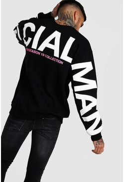 Black Oversized MAN Official Back & Sleeve Print Sweat