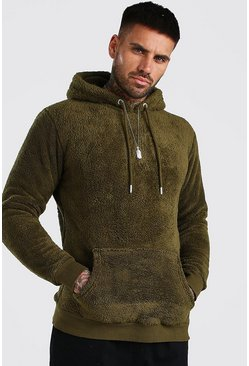 Khaki Borg Over The Head Hoodie