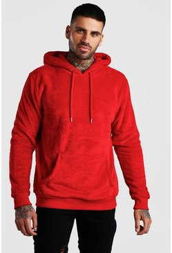 Red Two Tone Borg Over The Head Hoodie
