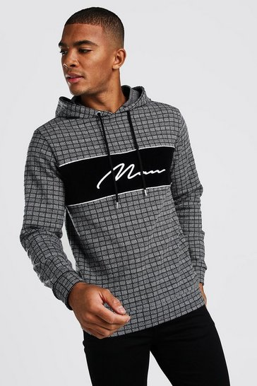 Black MAN Signature Velour Panel Hoodie In Jacquard Check