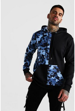 Black Camo Colour Block Over The Head Hoodie