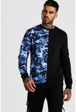 Black Camo Colour Block Sweatshirt