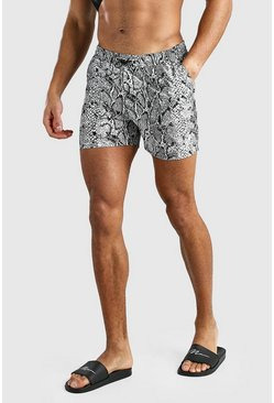 Grey Snake Printed Elasticated Waistband Short