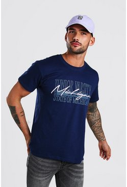 "T-Shirt mit ""Michigan""-Print, Marineblau"