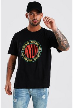 Black Oversized Brooklyn Print T-Shirt