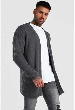 Grey Longline Edge To Edge Knitted Cardigan