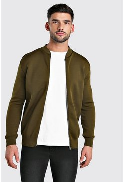 Khaki Smart Knitted Bomber