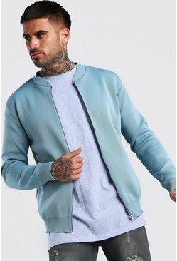 Pale blue Smart Knitted Bomber
