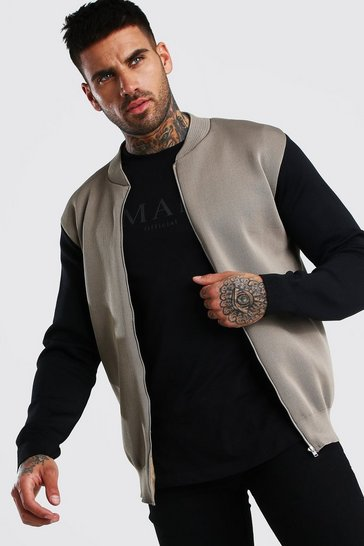 Taupe Colour Block Smart Knitted Bomber
