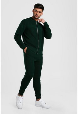 Green Knitted Zip Through Polo And Jogger Set