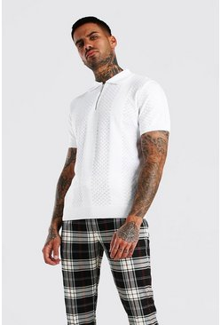 Off white Textured Stripe Zip Through Knitted Polo