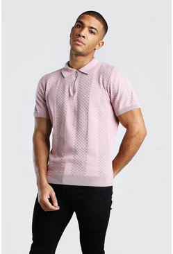 Pink Textured Stripe Zip Through Knitted Polo