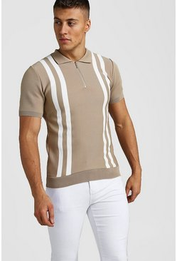 Taupe Zip Through Stripe Knitted Polo