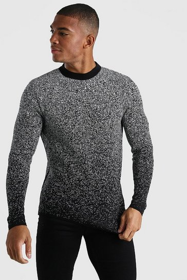 Black Ombre Speckle Crew Neck Knitted Jumper