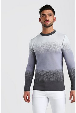 Ice blue Speckle Colour Block Knitted Jumper