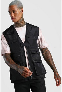 Black Multi Pocket Mesh Utility Vest