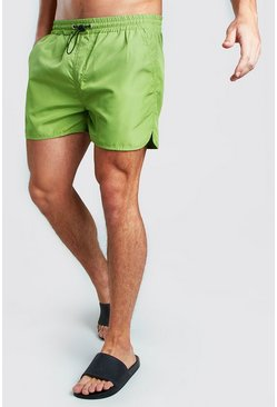 Neon-green Runner Swim Short With Bungee Waist Cord