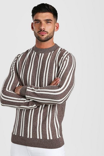 Taupe Turtle Neck Long Sleeve Stripe Knitted Jumper