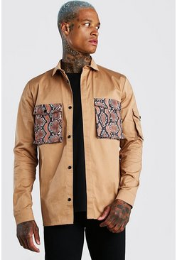 Tan Contrast Pocket Utility Overshirt