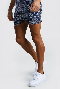 Navy Bandana Printed Shorts