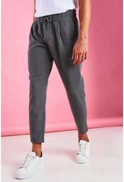 Grey Skinny Fit Crop Trousers With Pleats