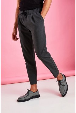 Charcoal Skinny Fit Crop Trousers With Pleats