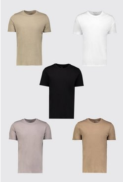 Multi 5 Pack Basic Crew Neck T-Shirt