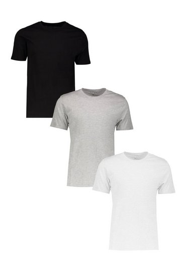 Multi 3 Pack Basic Crew Neck T-Shirt