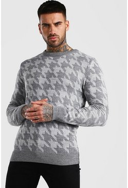 Houndstooth Crew Neck Jumper